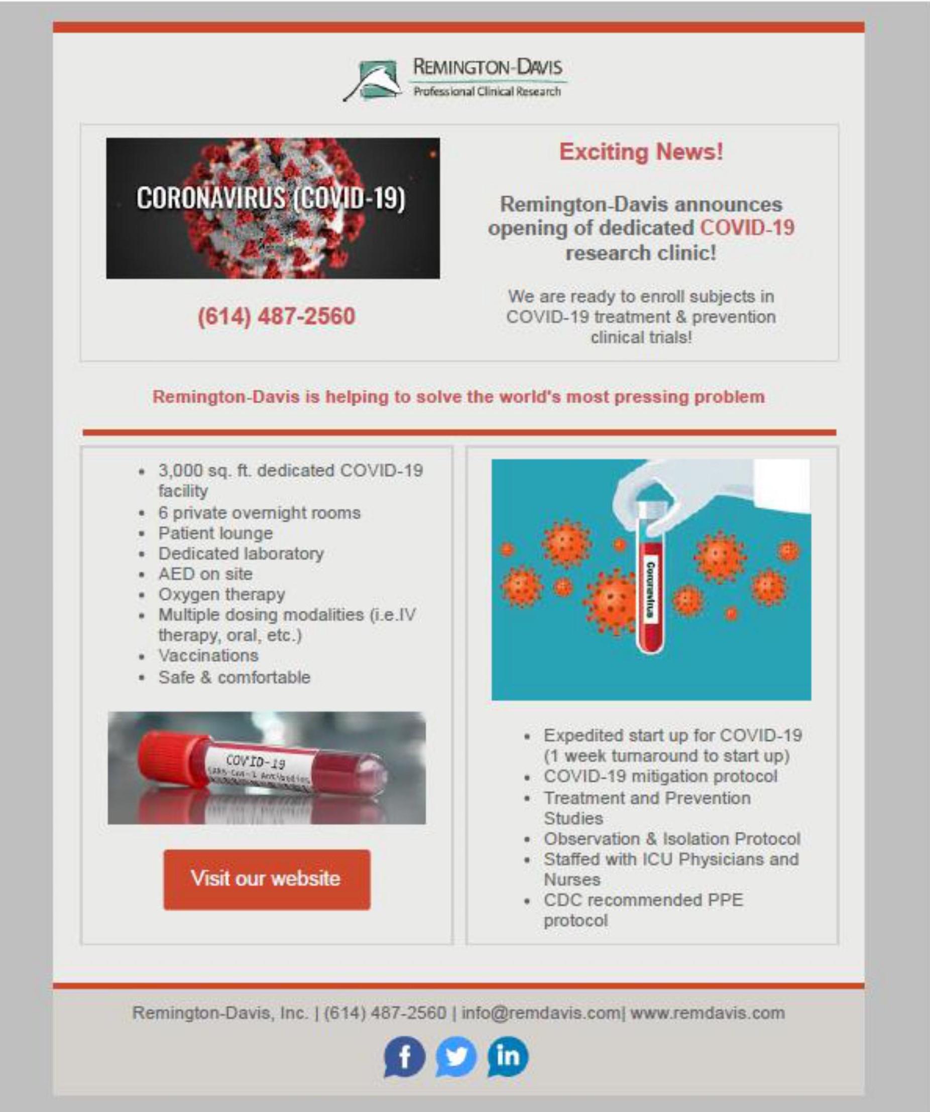 Remington-Davis launches dedicated COVID-19 research unit in Ohio